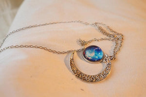 Blue/Red Galaxy Stars Pastel Moon Long Chain Necklace SP141541 - SpreePicky  - 11