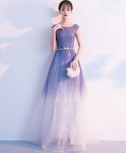 Unique Tulle Long Prom Dress, Tulle Long Evening Dress - DelaFur Wholesale
