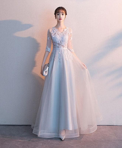 Gray Tulle Lace Long Prom Dress, Gray Tulle Lace Bridesmaid Dress - DelaFur Wholesale