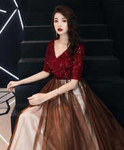 Load image into Gallery viewer, Burgundy Sequin Tulle Long Prom Dress, Burgundy Evening Dress - DelaFur Wholesale