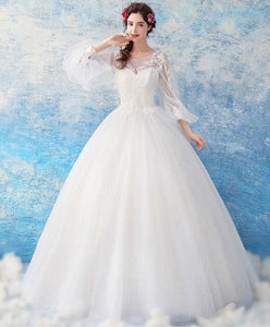 White Tulle Lace Round Neck Long Prom Dress, White Tulle Evening Dress - DelaFur Wholesale