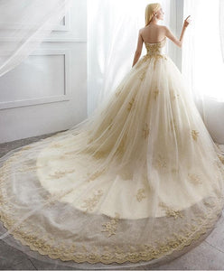 Champagne Tulle Lace Long Wedding Dress, Champagne Tulle Bridal Dress - SpreePicky FreeShipping