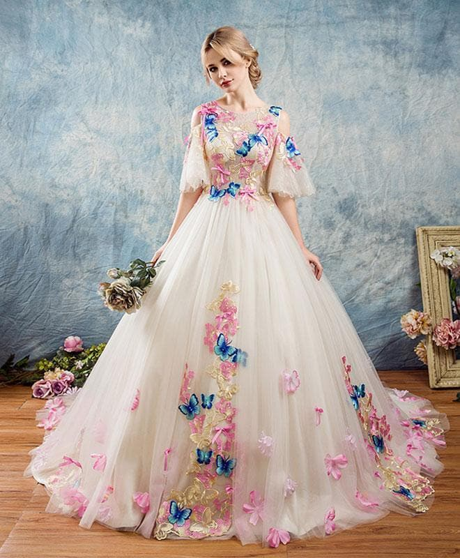 Unique Round Neck Applique Tulle Long Prom Gown, Tulle Evening Dress - DelaFur Wholesale