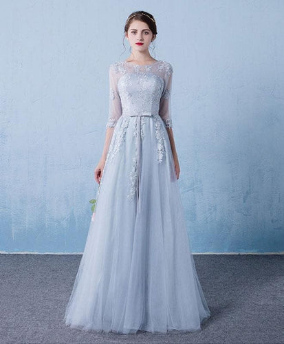 Gray Round Neck Tulle Lace Long Prom Dress, Gray Bridesmaid Dress - DelaFur Wholesale