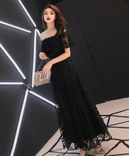 Load image into Gallery viewer, Black Lace Tea Length Prom Dress, Black Lace Evening Dress - DelaFur Wholesale