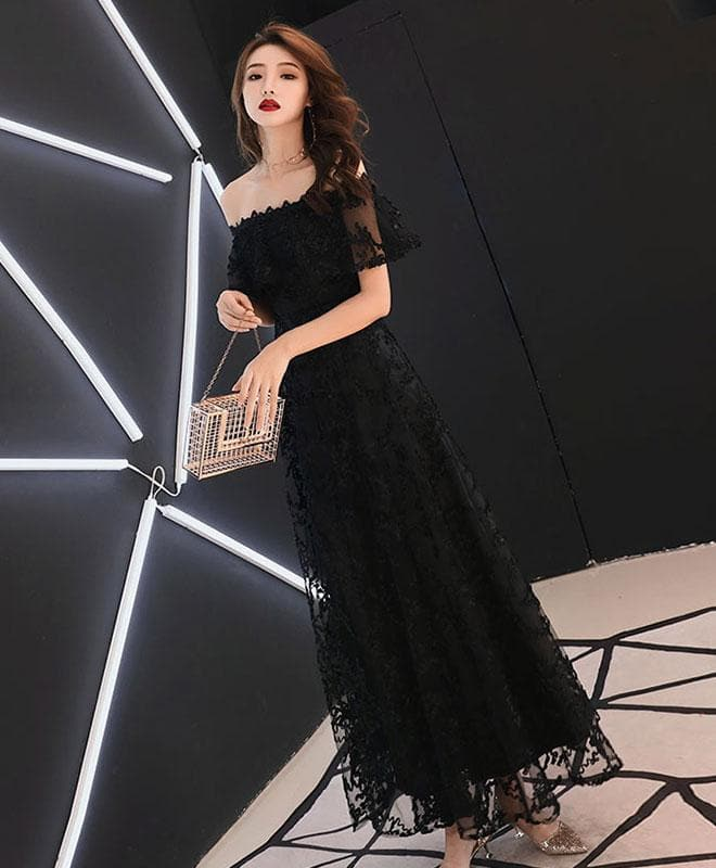 Black Lace Tea Length Prom Dress, Black Lace Evening Dress - DelaFur Wholesale
