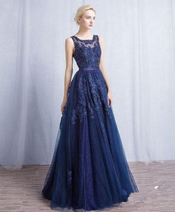 Dark Blue Round Neck Tulle Lace Applique Long Prom Dress - DelaFur Wholesale