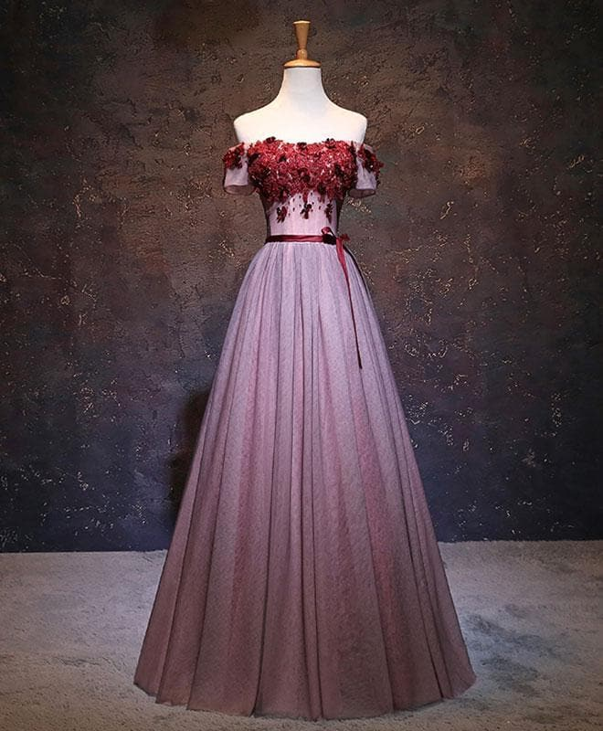 Pink Tulle Lace Applique Long Prom Dress, Evening Dress - DelaFur Wholesale