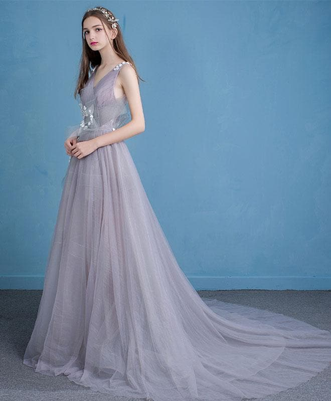 Unique V Neck Tulle Long Prom Dress, Tulle Evening Dresses - DelaFur Wholesale