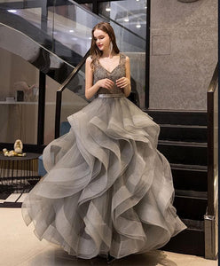 Gray V Neck Tulle Beads Long Prom Dress Gray Tulle Evening Dress A003 - DelaFur Wholesale