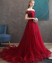 Load image into Gallery viewer, Burgundy Tulle Lace Long Prom Dress Burgundy Tulle Evening Dress A010 - DelaFur Wholesale