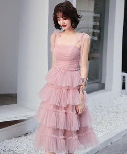 Simple Pink Tulle Short Prom Dress, Pink Homecoming Dress - DelaFur Wholesale