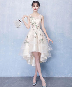 Champagne Round Neck Tulle Applique High Low Prom Dress, Cute Homecoming - Harajuku Kawaii Fashion Anime Clothes Fashion Store - SpreePicky