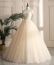 Load image into Gallery viewer, Champagne Tulle Off Shoulder Lace Long Prom Dress ,Sweet 16 Dress A024 - DelaFur Wholesale
