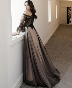 Black Tulle A Line Lace Long Prom Dress Tulle Lace Formal Dress - DelaFur Wholesale
