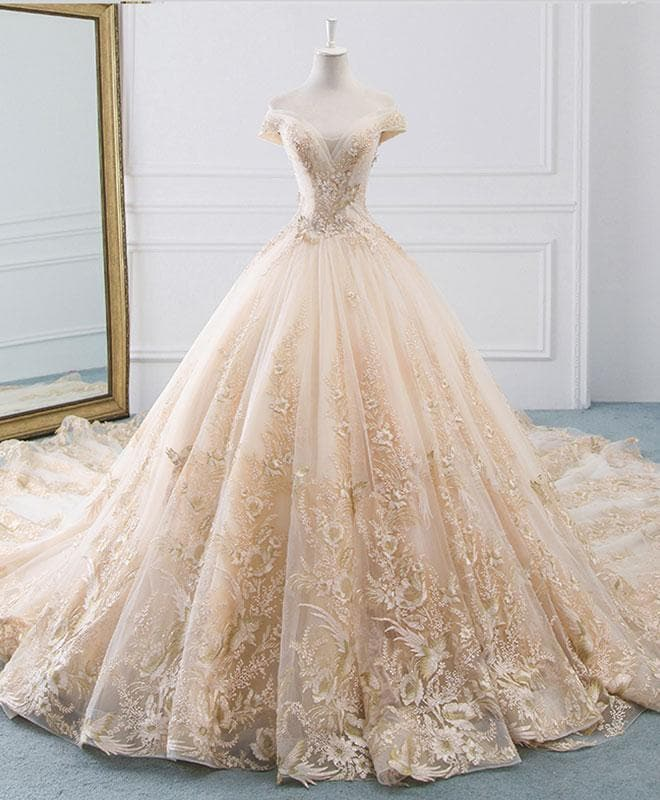 Unique Champagne Tulle Lace Long Wedding Dress, Bridal Gown - DelaFur Wholesale