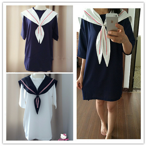 White/Navy Sailor Loose Dress SP152498 - SpreePicky  - 1