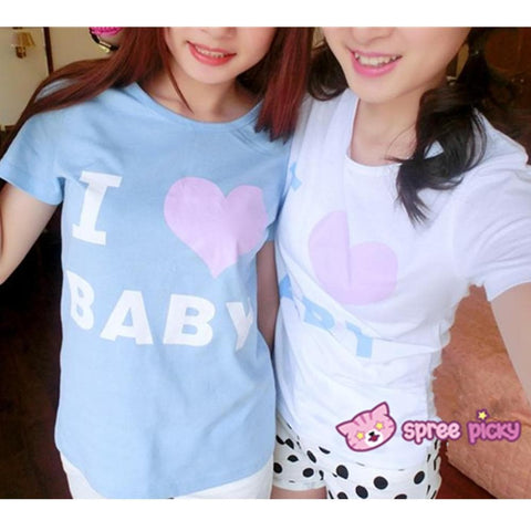 Blue/White I Love Baby T-shirt Top SP153295 - SpreePicky  - 1