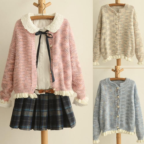 Pink/Beige/Blue Mori Girl Knitted Sweater Cardigan Coat SP153471 - SpreePicky  - 1