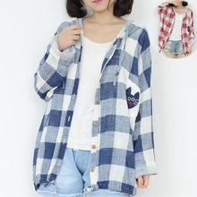 Load image into Gallery viewer, Red/Blue Mori Girl Grids Hoodie Coat Jacket SP153452 - SpreePicky  - 1