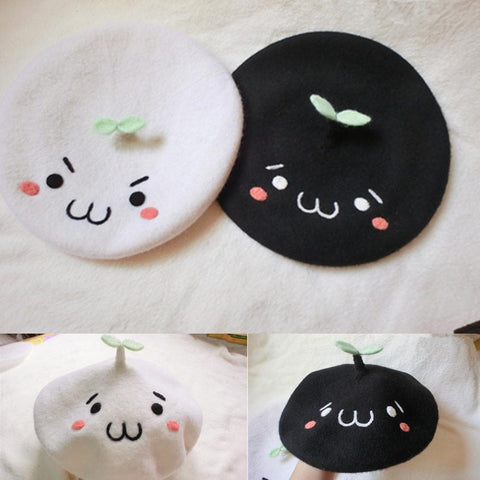 White/Black Emoji Beret Hat SP153410