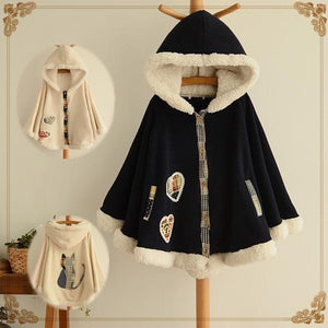 2 Colors Winter Kawaii Fluffy Fleece Cape With Kitten On Back SP141478 - SpreePicky  - 1