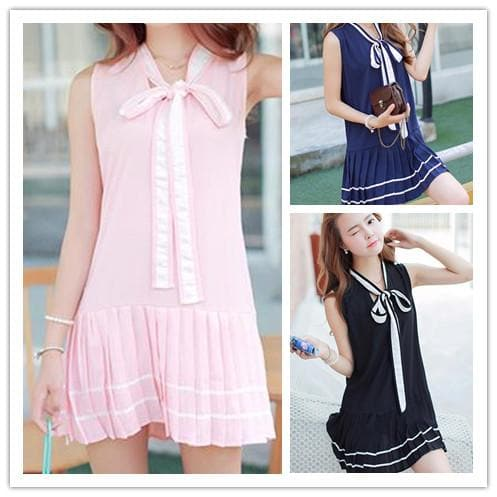 3 Colors Mori Girl Bowknot Sleeveless Sailor Dress SP152630 - SpreePicky  - 1