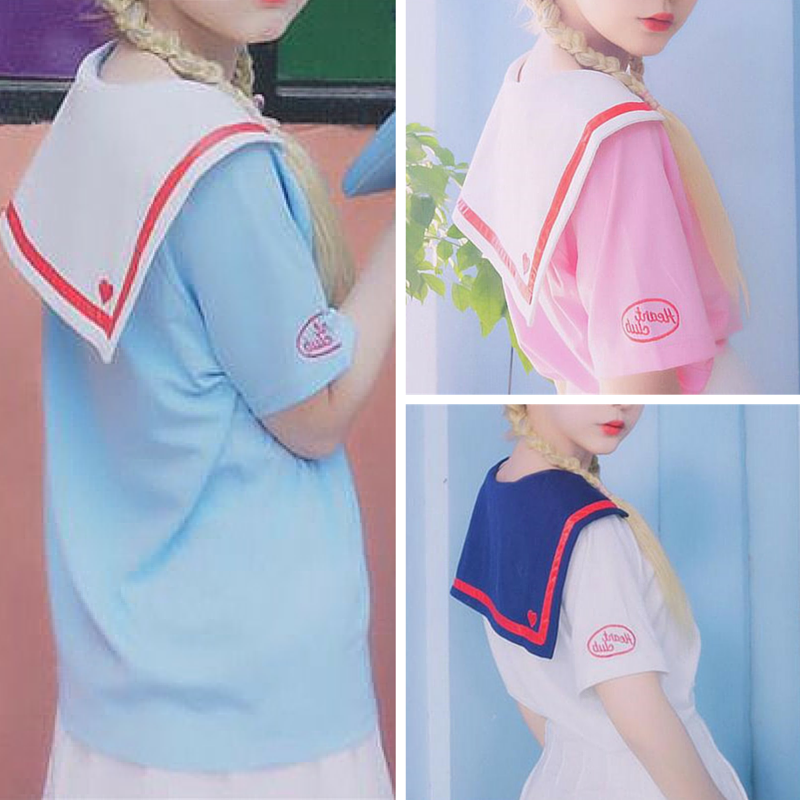 [3 Colors]Sailor Style Short Sleeve Tee SP167227