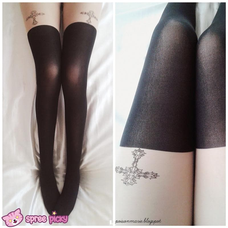 [3 for 2] Gothic Cross Fake Over Knee Thigh High Tights SP140914 - SpreePicky  - 1