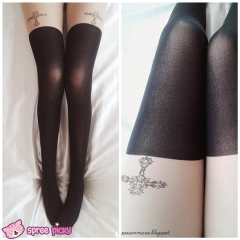Gothic Cross Fake Over Knee Thigh High Tights SP140914