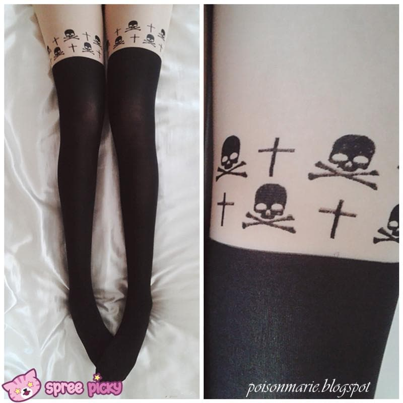 [3 for 2] Gothic Cross Skeletons Skull Fake Over Knee Thigh High Tights SP141374 - SpreePicky  - 1