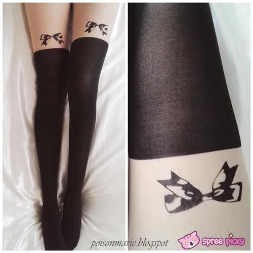 [3 for 2] Little Bow Fake Over Knee Thigh High Tights SP140915 - SpreePicky  - 1