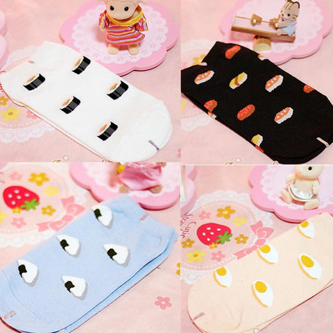 4 Colors Cutie Japanese Sushi Short Socks SP153683