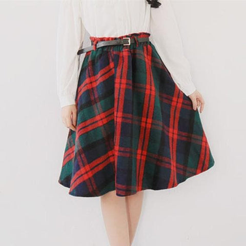 4 Colors England Grids Skirt SP154145 - SpreePicky  - 1