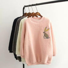 Load image into Gallery viewer, 4 Colors Mori Girl Velvet Jumper With Little Rabbit Printing SP154071 - SpreePicky  - 1