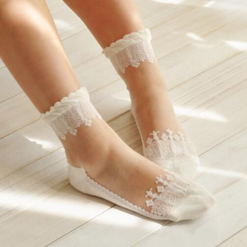 5 Colors Mori Girl Glass Silk Lace Socks SP153816