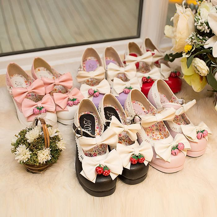 7 Colors Lolita Strawberry Princess  Shoes SP153554 - SpreePicky  - 1