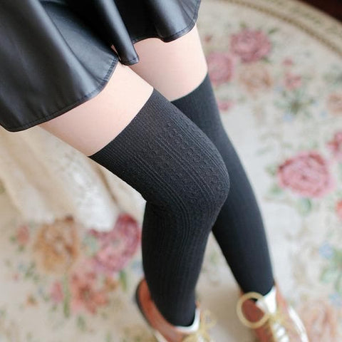 Basic Black Fake Over Knee Thigh High Fleece Footless Tights SP154136