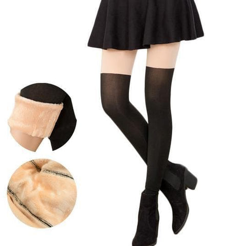Basic Fake Over Knee Thigh High Fleece Footless Tights SP153990 - SpreePicky  - 1