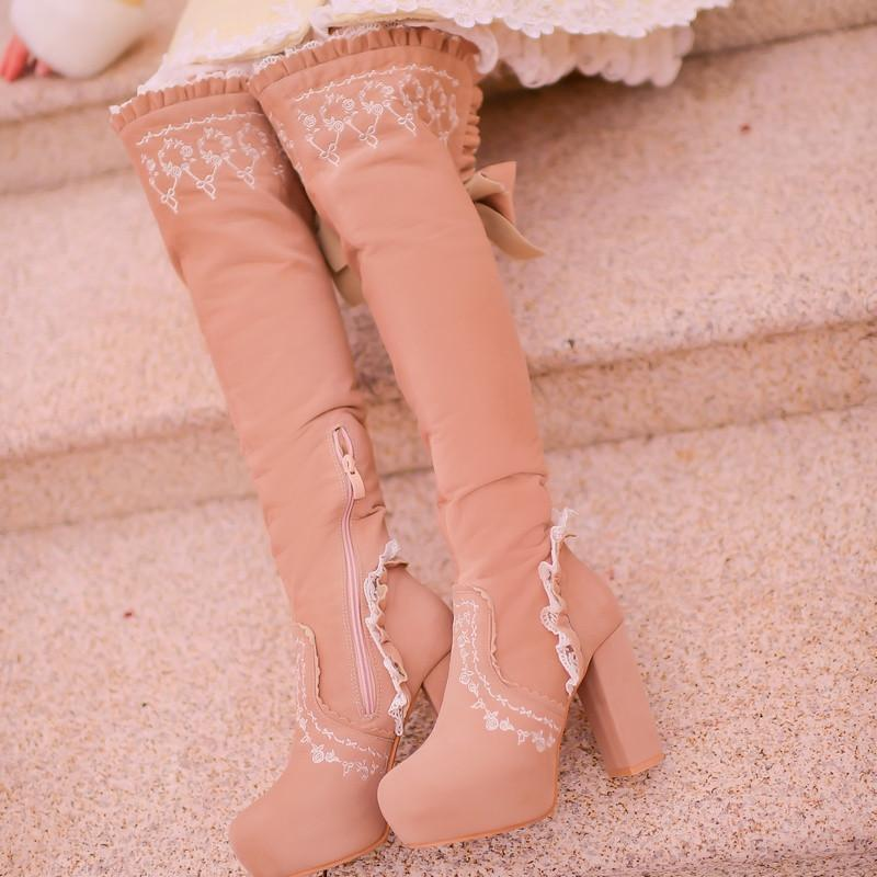 Beige/Light Tan Sweet Bowknot Rough Heels Long Boots SP154417 - SpreePicky  - 1