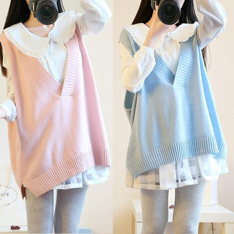 Beige/Pink/Blue Pastel Vest Sweater and Blouse Twinset SP166254