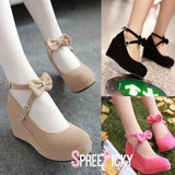 Black/Beige/Pink Sweet Bow Wedge Shoes SP179291