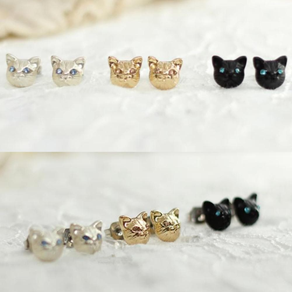 Black/Gold/Silver Cutie Cat Earrings SP153287 - SpreePicky  - 1