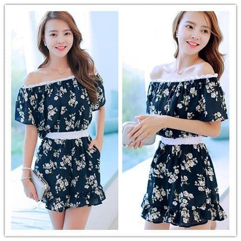 Black/Navy Little Daisy Boat Neck Dress SP152617 - SpreePicky  - 1
