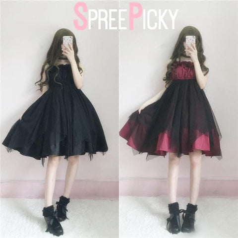 BlackRed Ragged Lolita Tulle Suspender Dress SP179611