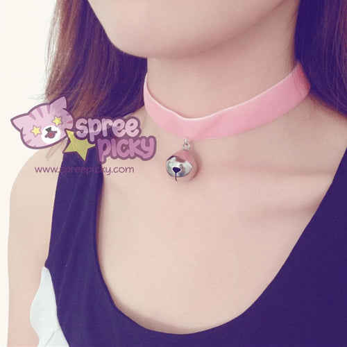 Black/White/Pink Bell Choker SP167433