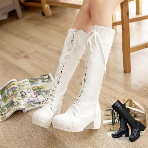 Black/White British Style Long Boots SP153966 - SpreePicky  - 1