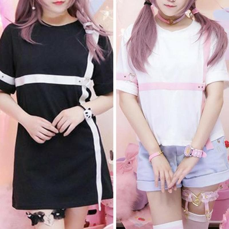 Black/White Kawaii Heart Garter Shirt SP168249