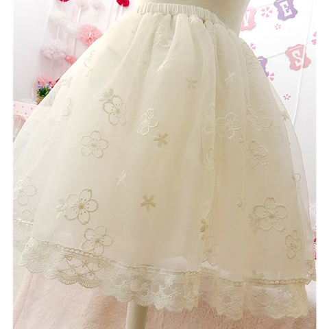 Black/White Lolita Sakura Pattern Lace Skirt SP165484