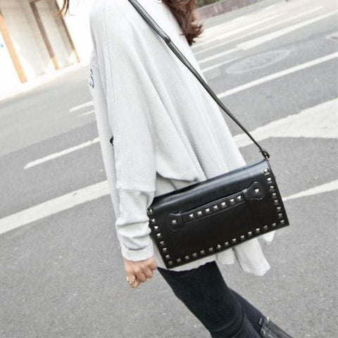 Black/White Rivet Massge Hand Bag/Shoulder Bag SP154298 - SpreePicky  - 4